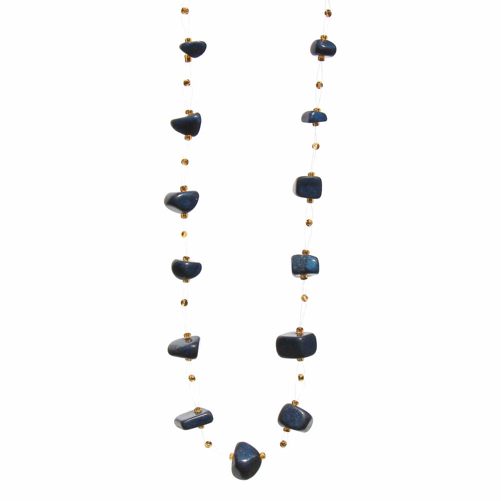 Floating Stone & Maasai Bead Necklace, Navy