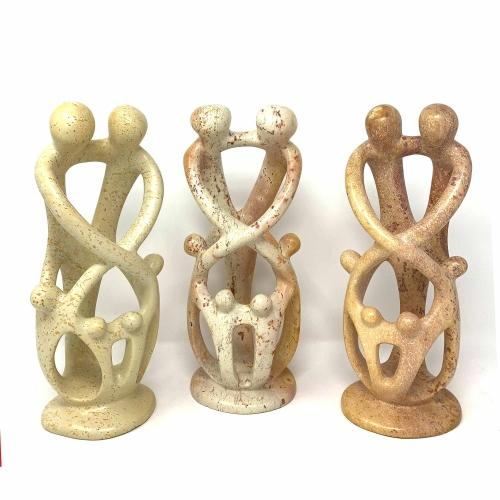 Natural 8-inch Tall Soapstone Family Sculpture - 2 Parents 4 Children - Smolart