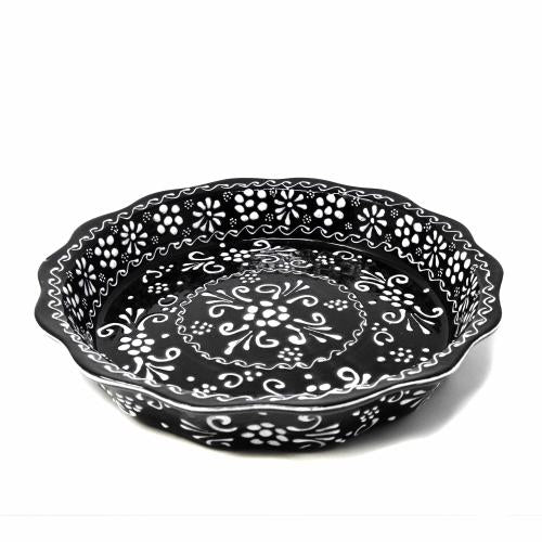 Encantada Handmade Pottery Serving Dish, Black & White