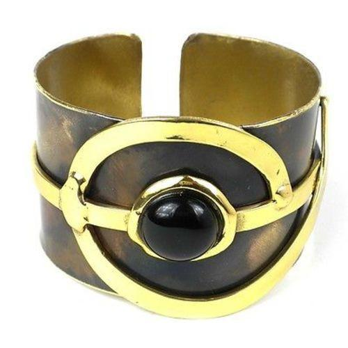 Handcrafted Onyx Note Cuff - Brass Images (C)