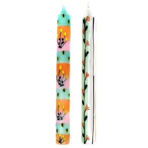 Tall Hand Painted Candles - Pair -Imbali Design - Nobunto