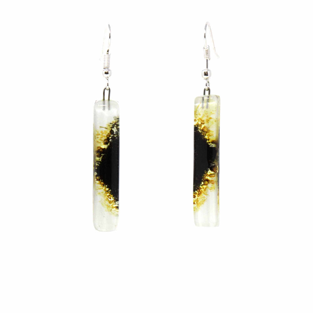 Long Rectangle Glass Dangle Earrings, Coffee Bean - Tili Glass