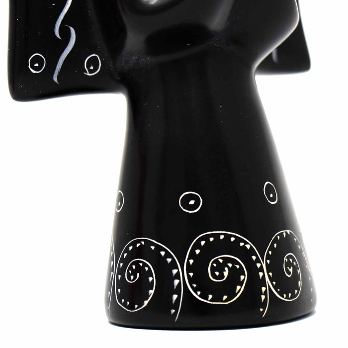 Soapstone Angel Sculpture - Black Finish with Etch Design