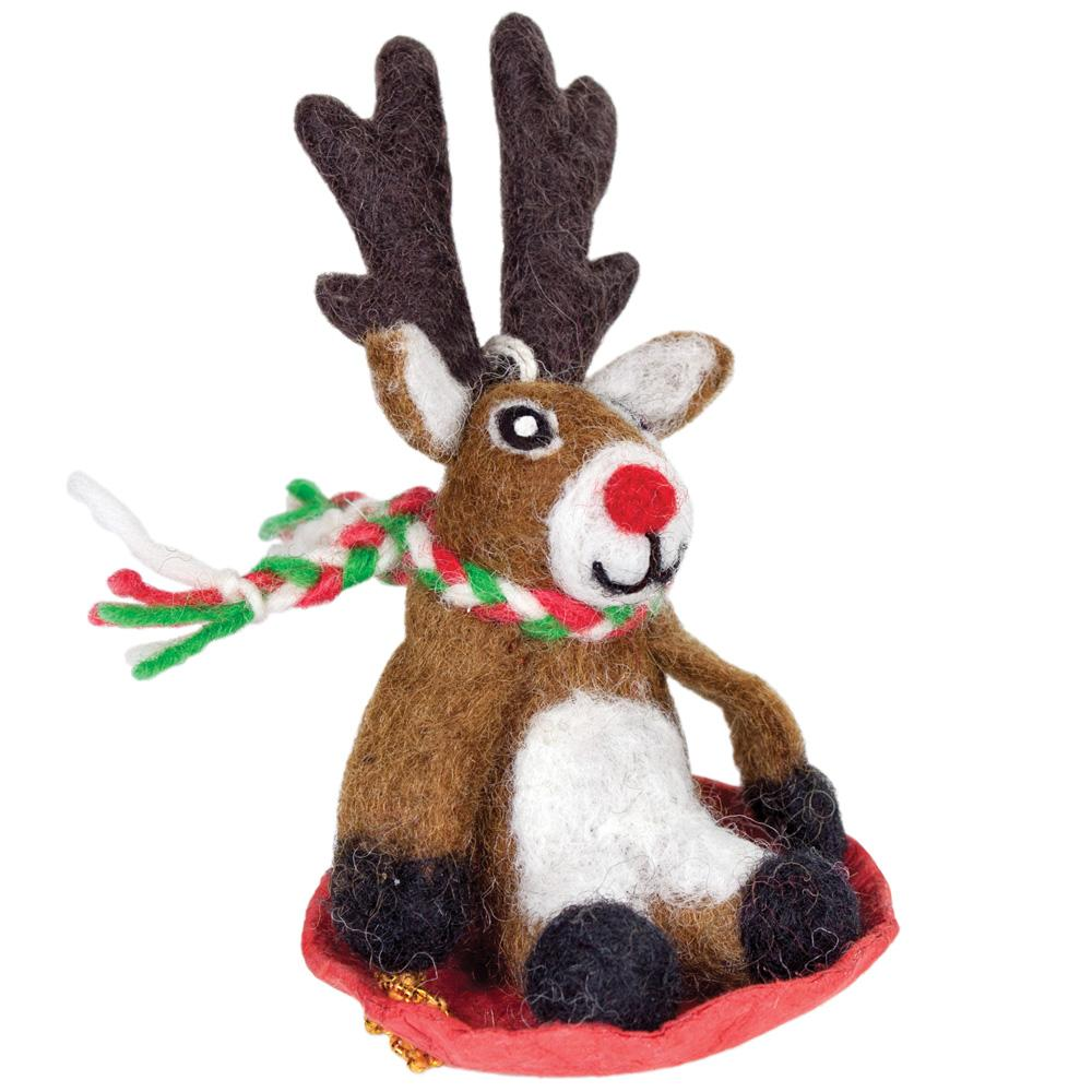 Dasher Jr Reindeer Felt Ornament - Wild Woolies (H)