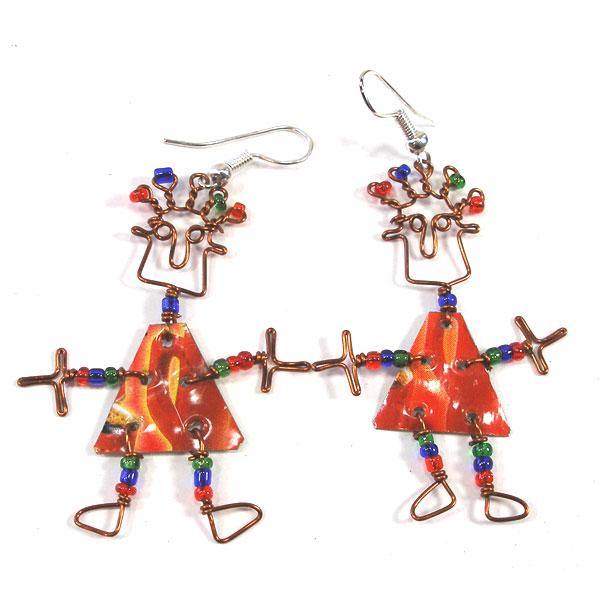 Set of 10 Dancing Dangle Earrings with Tin Can Body