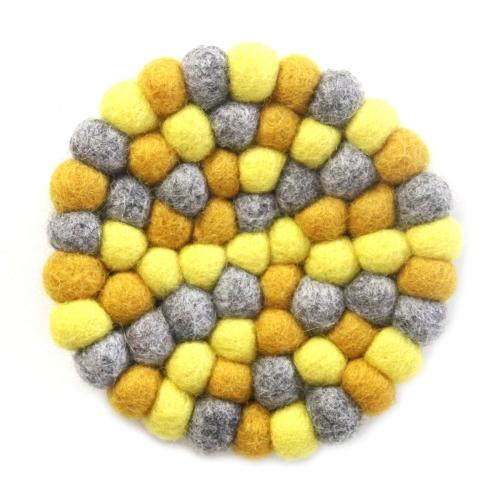 Hand Crafted Felt Ball Trivets from Nepal: Round Chakra, Yellows - Global Groove (T)