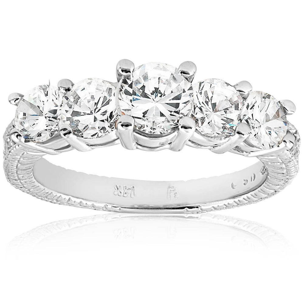 2ct Diamond Wedding Ring 14k White Gold for Women