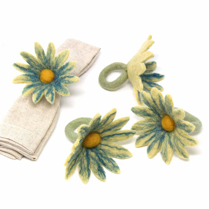 Daisy Napkin Rings - Set of Four Midnight - Global Groove (T)