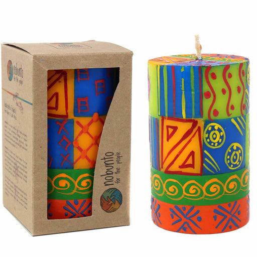 Single Boxed Hand-Painted Pillar Candle - Shahida Design - Nobunto