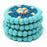 Hand Crafted Felt Ball Coasters from Nepal: 4-pack, Flower Turquoise - Global Groove (T)
