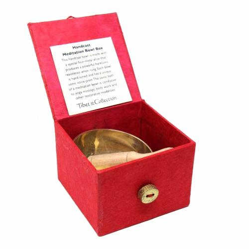 Meditation Bowl Box: 3''Gold Bodhi - DZI (Meditation)