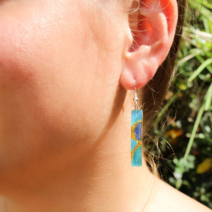 Long Rectangle Glass Dangle Earrings, Blue Earthtones - Tili Glass