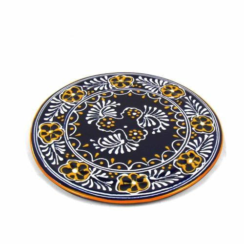 "Handmade Pottery 8"" Trivet or Wall Hanging, Blue - Encantada"