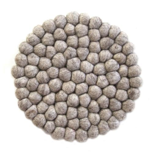 Hand Crafted Felt Ball Trivets from Nepal: Round, Light Grey - Global Groove (T)