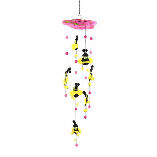 Pink Felt Bumble Bee Mobile - Global Groove
