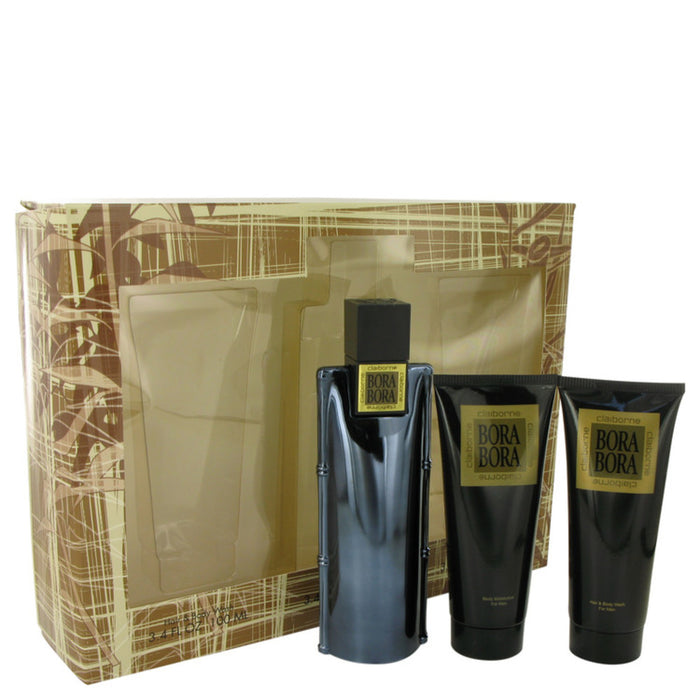 Bora Bora By Liz Claiborne Gift Set -- 3.4 Oz Cologne Spray + 3.4 Oz Body Moisturizer + 3.4 Oz Hair and Body Wash For Men