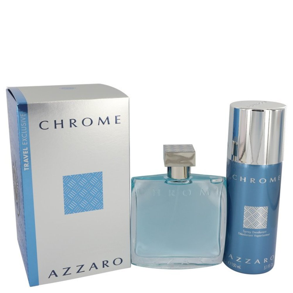 Chrome By Azzaro Gift Set -- 3.4 Oz Eau De Toilette Spray + 5 Oz Deodorant Spray For Men