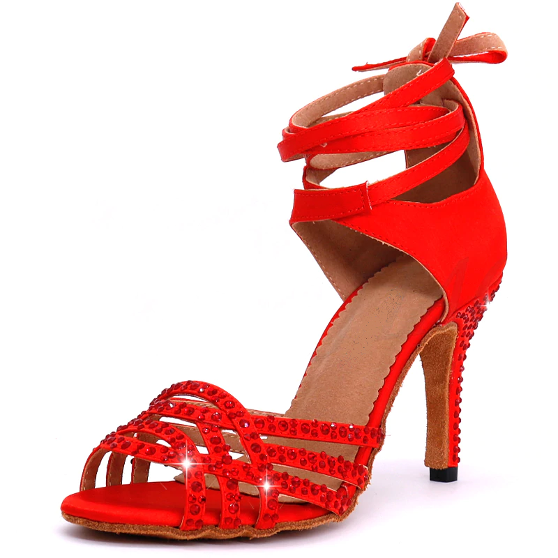 Red Latin dance shoes with Red rhinestone