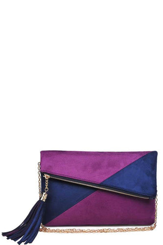 Navy & Fuschia Asymmetrical Clutch
