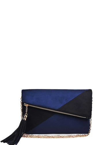 Black & Navy Asymmetrical Clutch