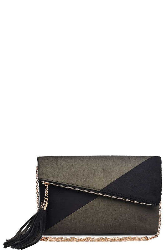 Olive & Black Asymmetrical Clutch