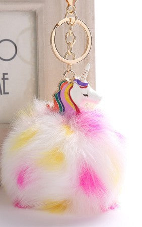 White Unicorn Keychain
