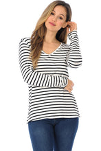 Load image into Gallery viewer, Black and White Striped Long Sleeve T-Shirt