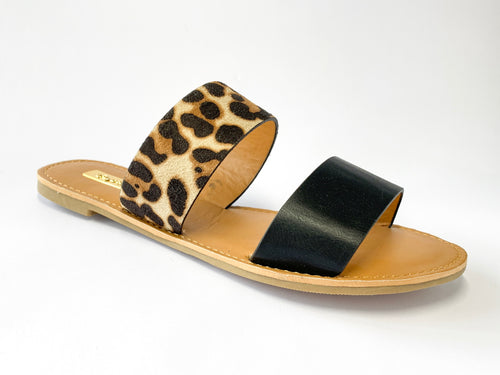 Women's Black and Leopard Two-Strap Slide Sandals
