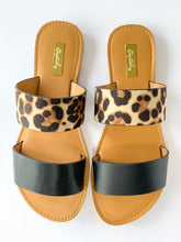 Load image into Gallery viewer, Women's Black and Leopard Two-Strap Slide Sandals