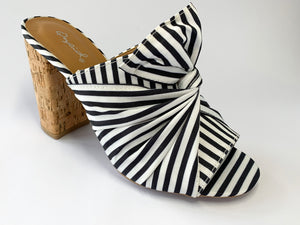 Women's Black and White Striped Cork Heels