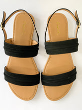 Load image into Gallery viewer, Women's Black Two-Strap Flat Sandal