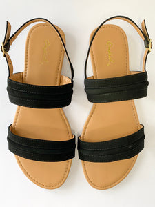 Women's Black Two-Strap Flat Sandal