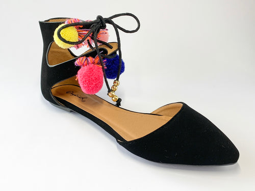 Women's Black Flats with Multi-Color Ankle Accent