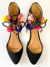 Load image into Gallery viewer, Women's Black Flats with Multi-Color Ankle Accent