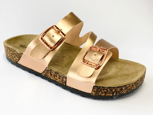 Women's Rose Gold Slip On Sandals