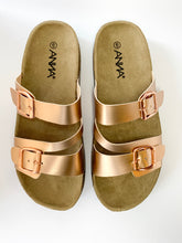 Load image into Gallery viewer, Women's Rose Gold Slip On Sandals