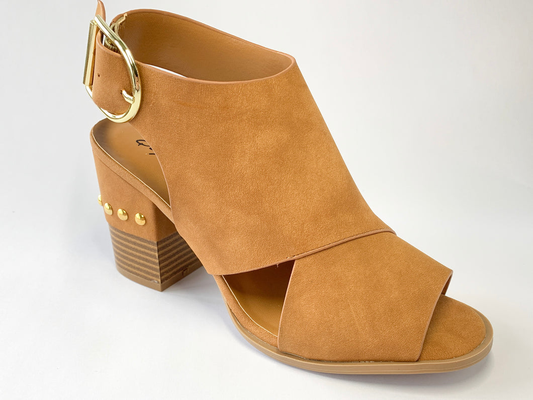Women's Camel Peep-Toe Block Heel