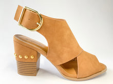 Load image into Gallery viewer, Women's Camel Peep-Toe Block Heel