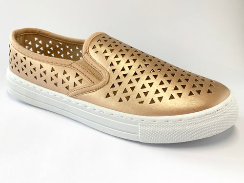 Women's Rose Gold Cut Out Slip On Sneaker