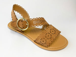 Women's Brown Lace Flat Sandal