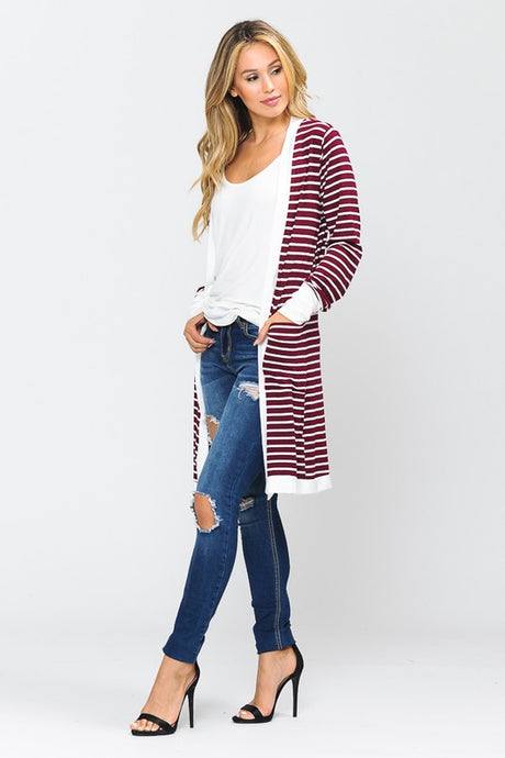 Burgundy Striped Cardigan Duster
