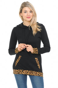 Leopard and Black Hooded Sweatshirt