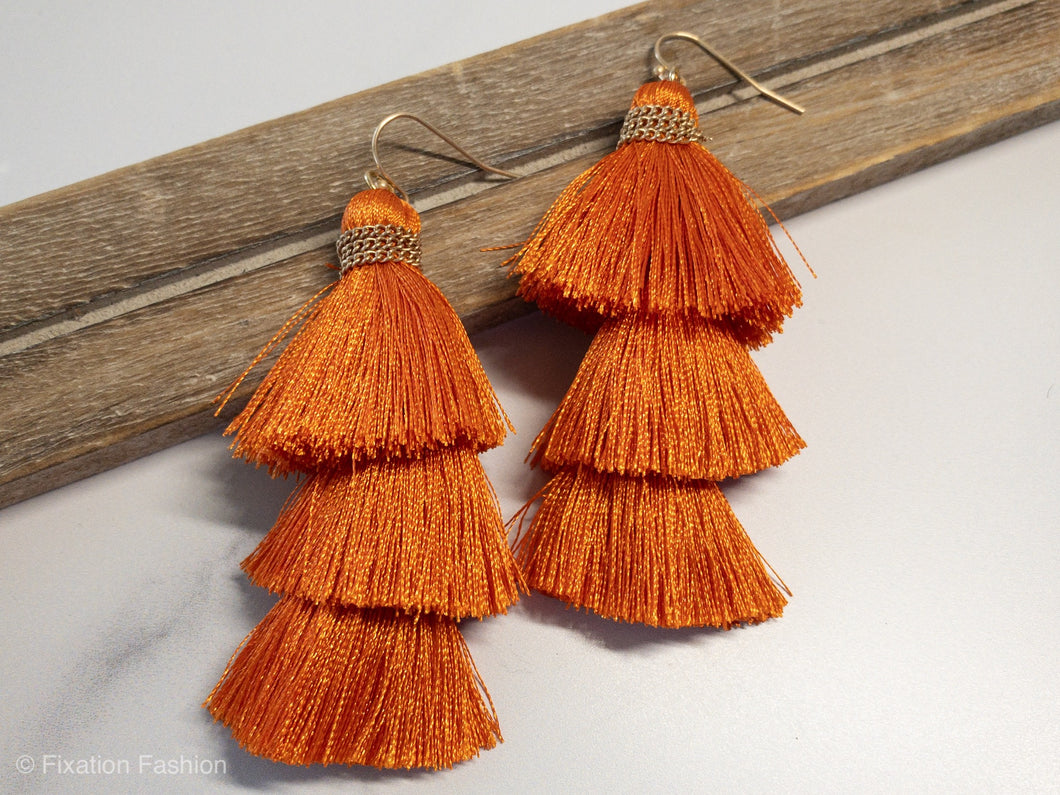 Orange Tassel Earrings