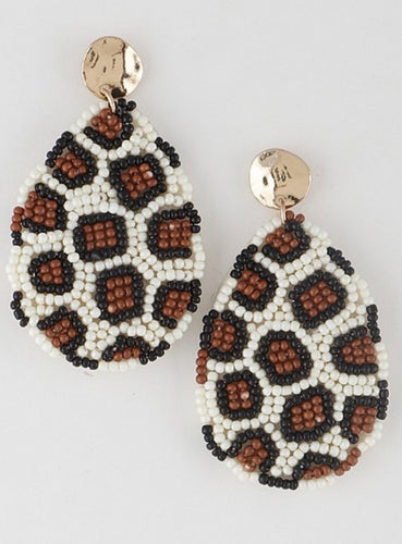 Beaded Leopard Earrings
