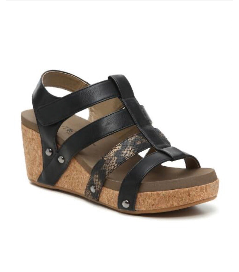 Corkys Lottie Da Black Snake Wedge