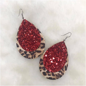 Red Glitter and Leopard Earrings