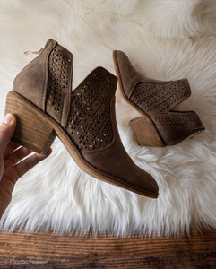 Brown Lace Booties