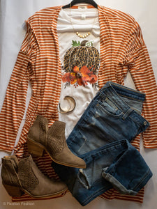Orange and White Striped Cardigan