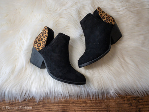 Leopard and Black Booties