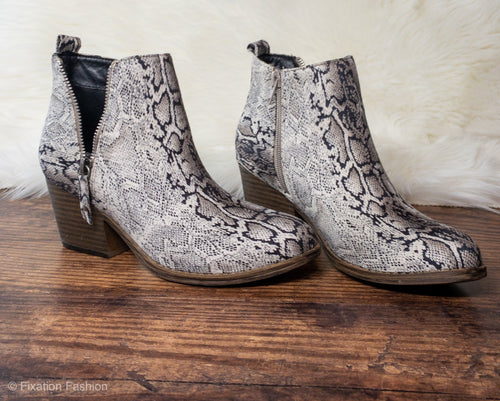 Snakeskin Zipper Booties